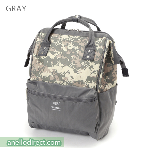 Anello Digital Camo Polyester Backpack Rucksack AT-B2241 Gray Japan Original Official Authentic Real Genuine Bag Free Shipping Worldwide Special Discount Low Prices Great Offer