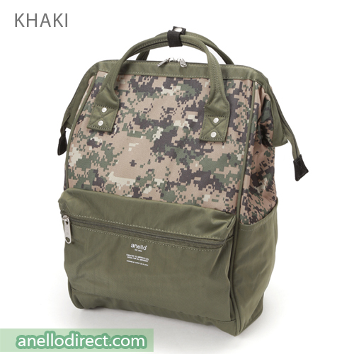 Anello Digital Camo Polyester Backpack Rucksack AT-B2241 Khaki Japan Original Official Authentic Real Genuine Bag Free Shipping Worldwide Special Discount Low Prices Great Offer