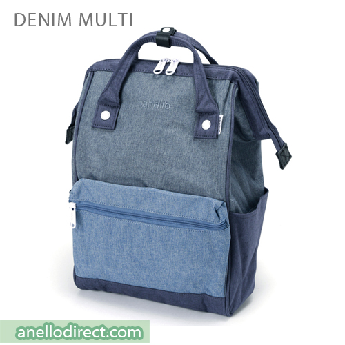 Anello Mottled Polyester  Classic Backpack Regular Size AT-B2261 Denim Multi Japan Original Official Authentic Real Genuine Bag Free Shipping Worldwide Special Discount Low Prices Great Offer