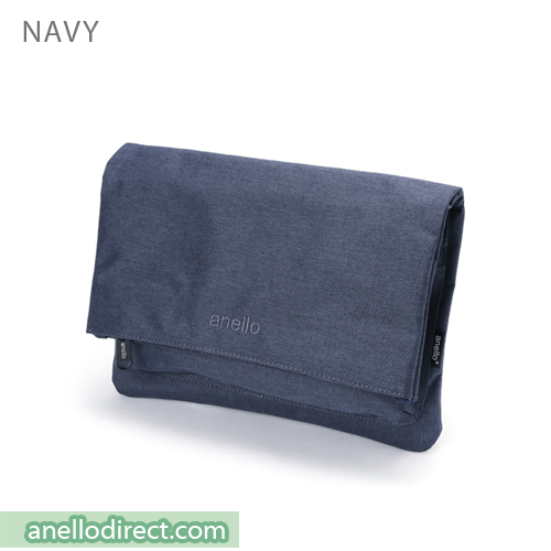 Anello Mottled Polyester 2 Way Clutch Folded Flap Shoulder Bag AT-B2263 Navy Japan Original Official Authentic Real Genuine Bag Free Shipping Worldwide Special Discount Low Prices Great Offer