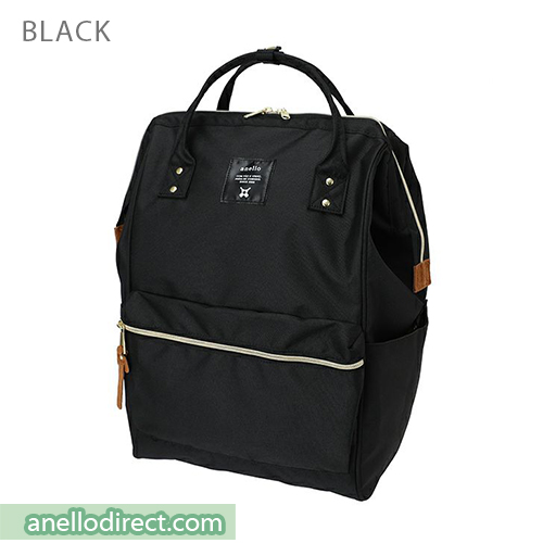 Anello 11 Pockets Polyester Canvas Backpack Rucksack Large Size AT-B2521 Black Japan Original Official Authentic Real Genuine Bag Free Shipping Worldwide Special Discount Low Prices Great Offer