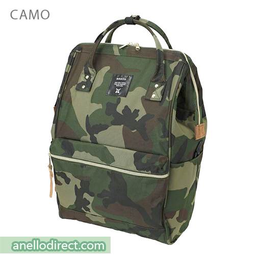 Anello 11 Pockets Polyester Canvas Backpack Rucksack Large Size AT-B2521 Camo Japan Original Official Authentic Real Genuine Bag Free Shipping Worldwide Special Discount Low Prices Great Offer