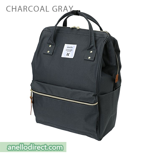 Anello 11 Pockets Polyester Canvas Backpack Rucksack Large Size AT-B2521 Charcoal Gray Japan Original Official Authentic Real Genuine Bag Free Shipping Worldwide Special Discount Low Prices Great Offer