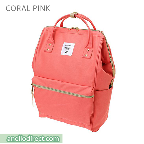 Anello 11 Pockets Polyester Canvas Backpack Rucksack Large Size AT-B2521 Coral Pink Japan Original Official Authentic Real Genuine Bag Free Shipping Worldwide Special Discount Low Prices Great Offer