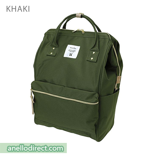 Anello 11 Pockets Polyester Canvas Backpack Rucksack Large Size AT-B2521 Khaki Japan Original Official Authentic Real Genuine Bag Free Shipping Worldwide Special Discount Low Prices Great Offer