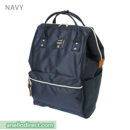 Anello 11 Pockets Polyester Canvas Backpack Rucksack Large Size AT-B2521 Navy Japan Original Official Authentic Real Genuine Bag Free Shipping Worldwide Special Discount Low Prices Great Offer