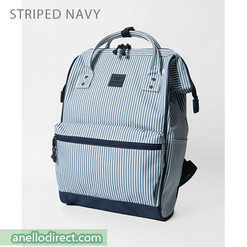 Anello N/C Polyester Classic Backpack Rucksack Regular Size AT-B3091 Stripes Navy Japan Original Official Authentic Real Genuine Bag Free Shipping Worldwide Special Discount Low Prices Great Offer