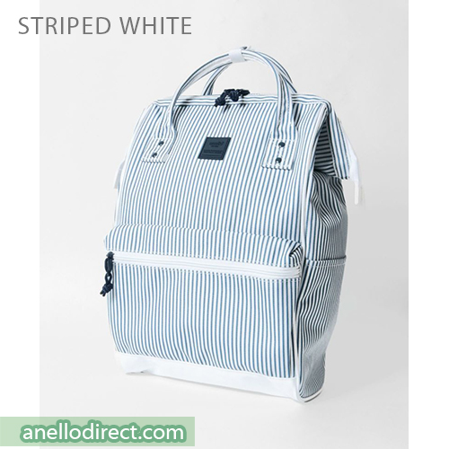 Anello N/C Polyester Classic Backpack Rucksack Regular Size AT-B3091 Stripes White Japan Original Official Authentic Real Genuine Bag Free Shipping Worldwide Special Discount Low Prices Great Offer