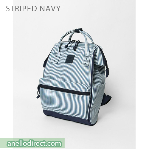 Anello N/C Polyester Classic Backpack Rucksack Mini Size AT-B3092 Stripes Navy Japan Original Official Authentic Real Genuine Bag Free Shipping Worldwide Special Discount Low Prices Great Offer