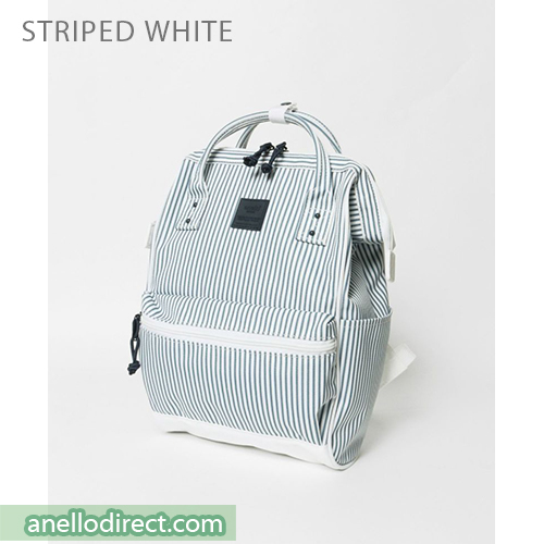 Anello N/C Polyester Classic Backpack Rucksack Mini Size AT-B3092 Stripes White Japan Original Official Authentic Real Genuine Bag Free Shipping Worldwide Special Discount Low Prices Great Offer