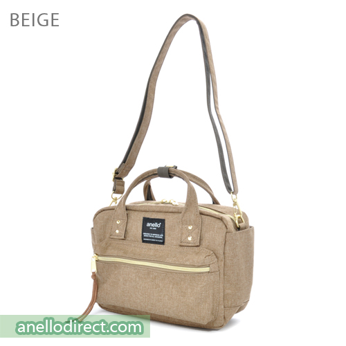 Anello Polyester Canvas Square 2 Way Shoulder Bag Mini Size AT-C1223 Beige Japan Original Official Authentic Real Genuine Bag Free Shipping Worldwide Special Discount Low Prices Great Offer