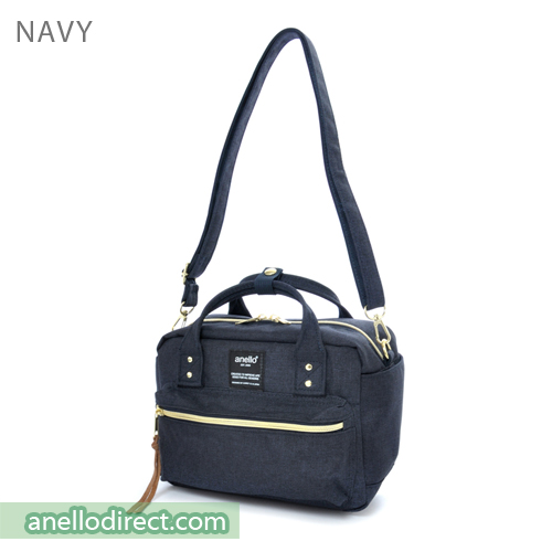 Anello Polyester Canvas Square 2 Way Shoulder Bag Mini Size AT-C1223 Navy Japan Original Official Authentic Real Genuine Bag Free Shipping Worldwide Special Discount Low Prices Great Offer