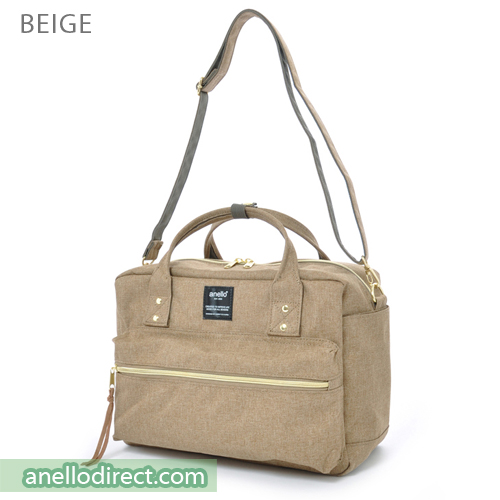 Anello Polyester Canvas Square 2 Way Shoulder Bag Regular Size AT-C1224 Beige Japan Original Official Authentic Real Genuine Bag Free Shipping Worldwide Special Discount Low Prices Great Offer