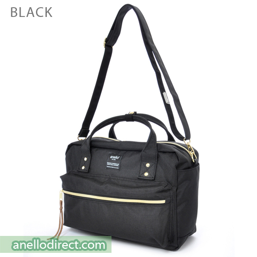Anello Polyester Canvas Square 2 Way Shoulder Bag Regular Size AT-C1224 Black Japan Original Official Authentic Real Genuine Bag Free Shipping Worldwide Special Discount Low Prices Great Offer