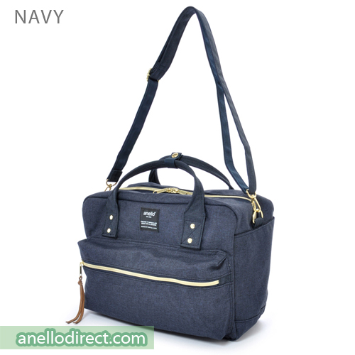 Anello Polyester Canvas Square 2 Way Shoulder Bag Regular Size AT-C1224 Navy Japan Original Official Authentic Real Genuine Bag Free Shipping Worldwide Special Discount Low Prices Great Offer