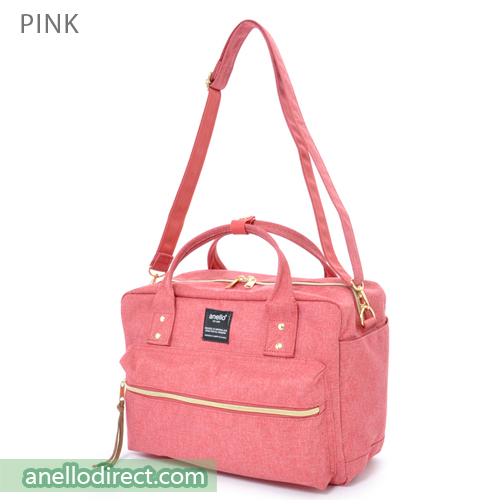 Anello Polyester Canvas Square 2 Way Shoulder Bag Regular Size AT-C1224 Pink Japan Original Official Authentic Real Genuine Bag Free Shipping Worldwide Special Discount Low Prices Great Offer