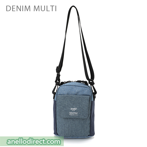 Anello Square Mini Polyester Shoulder Bag AT-C1834 Denim Multi Japan Original Official Authentic Real Genuine Bag Free Shipping Worldwide Special Discount Low Prices Great Offer