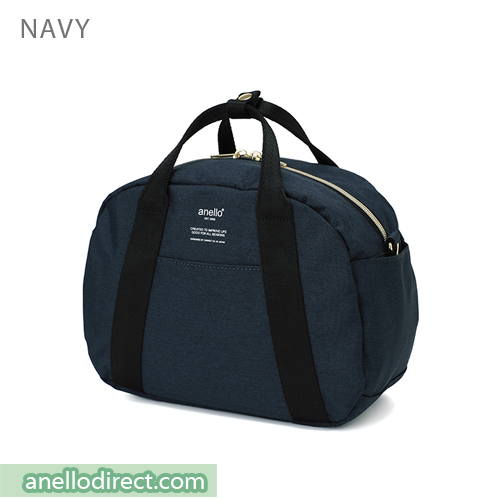 Anello Mottled Polyester Boston Shoulder Bag AT-C1835 Navy Japan Original Official Authentic Real Genuine Bag Free Shipping Worldwide Special Discount Low Prices Great Offer