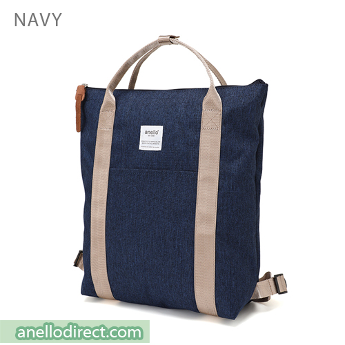 Anello Mottled Polyester 2 Way Tote Backpack Rucksack AT-C2244 Navy Japan Original Official Authentic Real Genuine Bag Free Shipping Worldwide Special Discount Low Prices Great Offer