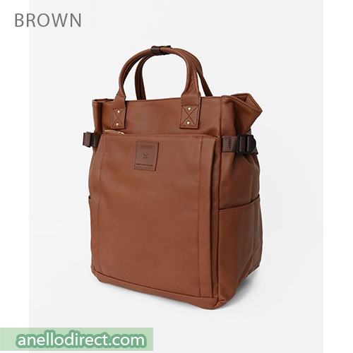Anello PU Leather 10 Pocket  2 Way Tote Backpack Rucksack AT-C3321 Brown Japan Original Official Authentic Real Genuine Bag Free Shipping Worldwide Special Discount Low Prices Great Offer