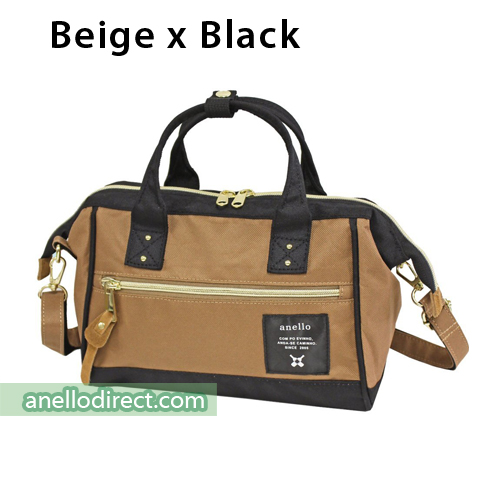 Anello Polyester Canvas 2 Way Shoulder Bag Mini Size AT-H0851 Beige x Black Japan Original Official Authentic Real Genuine Bag Free Shipping Worldwide Special Discount Low Prices Great Offer