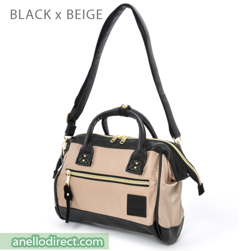 Anello PU Leather X Nylon 2 Way Shoulder Bag Mini Size AT-H1241 Black-Beige Japan Original Official Authentic Real Genuine Bag Free Shipping Worldwide Special Discount Low Prices Great Offer