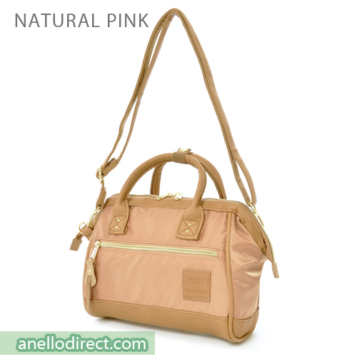 Anello PU Leather X Nylon 2 Way Shoulder Bag Mini Size AT-H1241 Natural Pink Japan Original Official Authentic Real Genuine Bag Free Shipping Worldwide Special Discount Low Prices Great Offer
