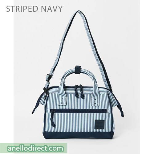Anello N/C Polyester Canvas 2 Way Shoulder Bag Handbag AT-H2021 Stripes Navy Japan Original Official Authentic Real Genuine Bag Free Shipping Worldwide Special Discount Low Prices Great Offer