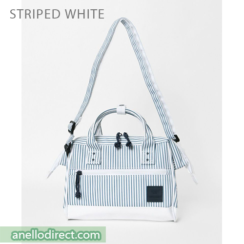 Anello N/C Polyester Canvas 2 Way Shoulder Bag Handbag AT-H2021 Stripes White Japan Original Official Authentic Real Genuine Bag Free Shipping Worldwide Special Discount Low Prices Great Offer