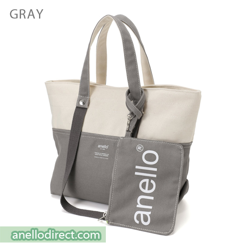 Anello Cotton Canvas Shoulder Tote Bag AU-B2543 Gray Japan Original Official Authentic Real Genuine Bag Free Shipping Worldwide Special Discount Low Prices Great Offer