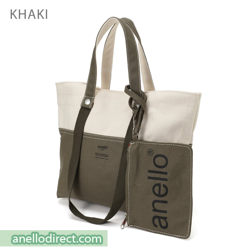 Anello Cotton Canvas Shoulder Tote Bag AU-B2543 Khaki Japan Original Official Authentic Real Genuine Bag Free Shipping Worldwide Special Discount Low Prices Great Offer