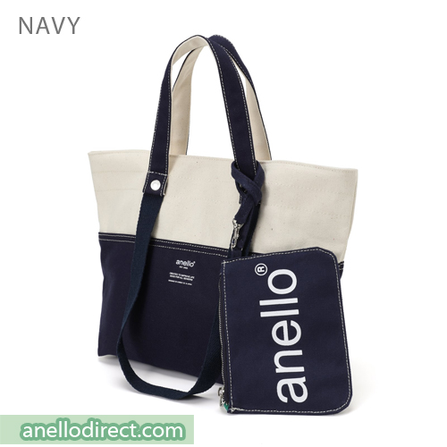 Anello Cotton Canvas Shoulder Tote Bag AU-B2543 Navy Japan Original Official Authentic Real Genuine Bag Free Shipping Worldwide Special Discount Low Prices Great Offer
