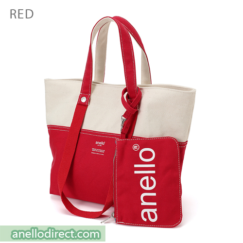 Anello Cotton Canvas Shoulder Tote Bag AU-B2543 Red Japan Original Official Authentic Real Genuine Bag Free Shipping Worldwide Special Discount Low Prices Great Offer
