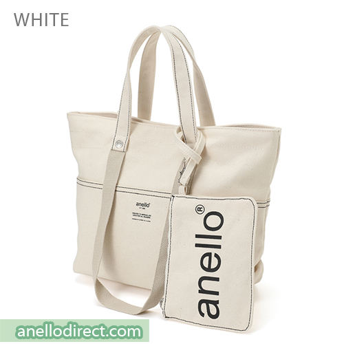 Anello Cotton Canvas Shoulder Tote Bag AU-B2543 White Japan Original Official Authentic Real Genuine Bag Free Shipping Worldwide Special Discount Low Prices Great Offer