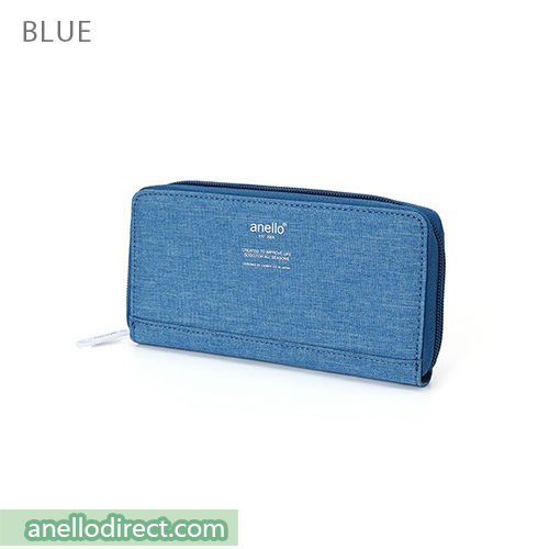 Anello THE DAY Round Zip Long Wallet AU-H1153 Blue Japan Original Official Authentic Real Genuine Bag Free Shipping Worldwide Special Discount Low Prices Great Offer