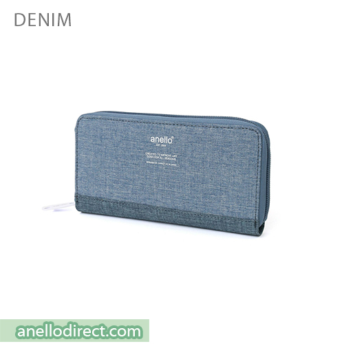 Anello THE DAY Round Zip Long Wallet AU-H1153 Denim Multi Japan Original Official Authentic Real Genuine Bag Free Shipping Worldwide Special Discount Low Prices Great Offer