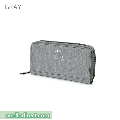 Anello THE DAY Round Zip Long Wallet AU-H1153 Gray Japan Original Official Authentic Real Genuine Bag Free Shipping Worldwide Special Discount Low Prices Great Offer