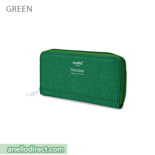 Anello THE DAY Round Zip Long Wallet AU-H1153 Green Japan Original Official Authentic Real Genuine Bag Free Shipping Worldwide Special Discount Low Prices Great Offer