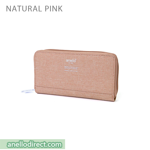 Anello THE DAY Round Zip Long Wallet AU-H1153 Natural Pink Japan Original Official Authentic Real Genuine Bag Free Shipping Worldwide Special Discount Low Prices Great Offer