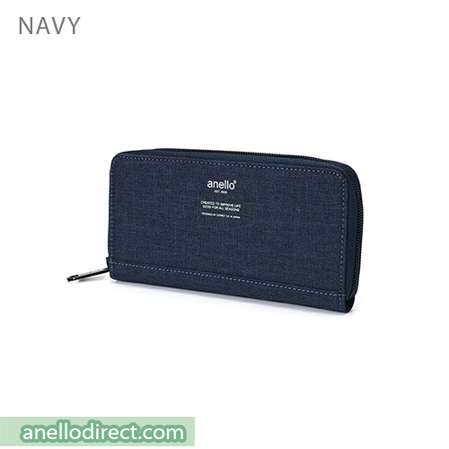 Anello THE DAY Round Zip Long Wallet AU-H1153 Navy Japan Original Official Authentic Real Genuine Bag Free Shipping Worldwide Special Discount Low Prices Great Offer