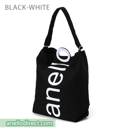 Anello O Handle 2 Way Tote Bag Handbag AU-S0061 Black-White Japan Original Official Authentic Real Genuine Bag Free Shipping Worldwide Special Discount Low Prices Great Offer
