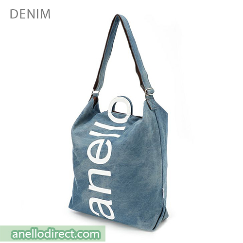 Anello O Handle 2 Way Tote Bag Handbag AU-S0061 Denim Blue Japan Original Official Authentic Real Genuine Bag Free Shipping Worldwide Special Discount Low Prices Great Offer