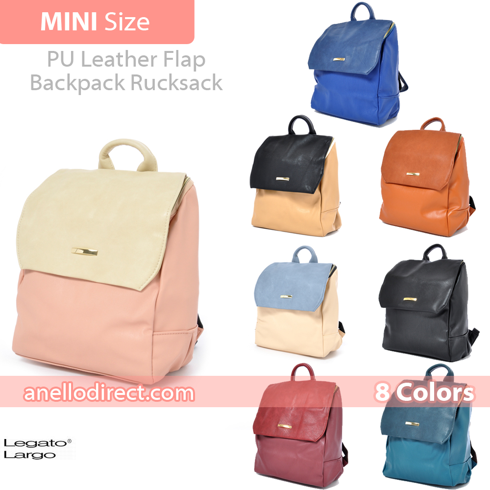 83d05bbcb714 Legato Largo PU Leather Flap Backpack Rucksack Mini Size LH-27704