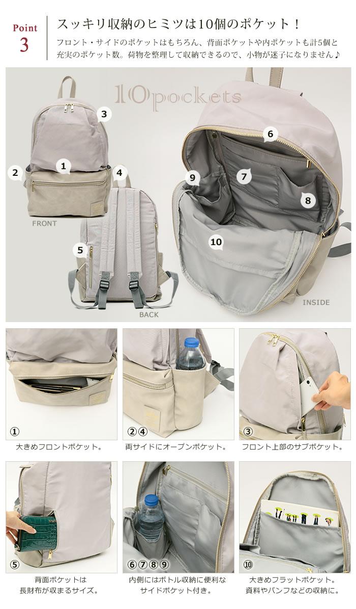 Japan Legato Largo Polyester 10 Pockets Backpack Rucksack LR-H1051