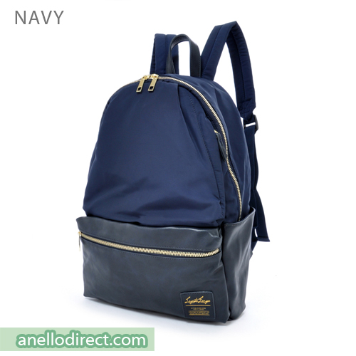 Legato Largo Polyester X PU 10 Pockets Backpack Rucksack LR-H1051 Navy Japan Original Official Authentic Real Genuine Bag Free Shipping Worldwide Special Discount Low Prices Great Offer